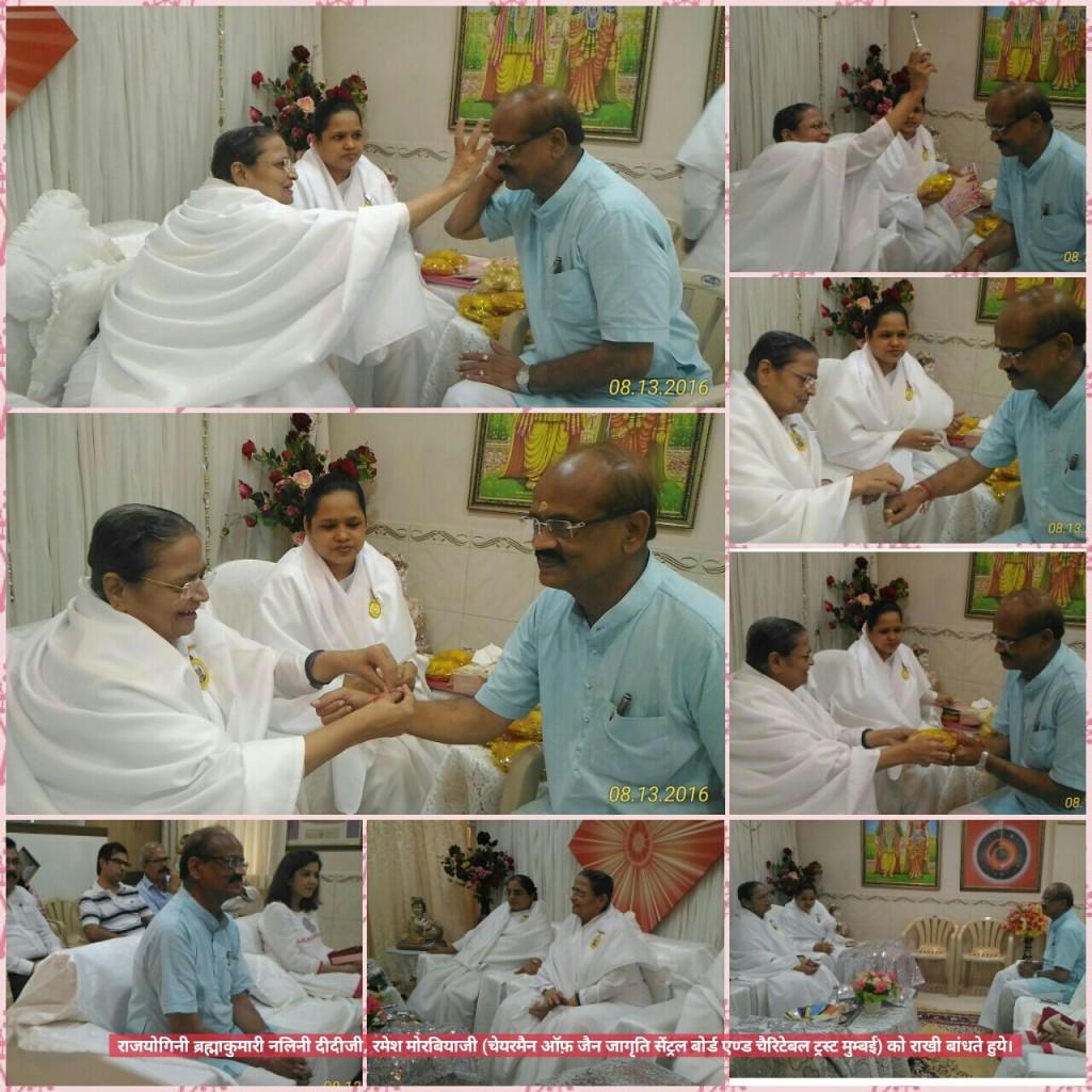 Nalini Didiji tying Rakhi to Ramesh Morbiyaji (Chairman, Jain Jagruti Central Board)